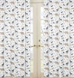 Sweet JoJo Designs 2-Piece Bear Deer Fox Window Treatment Panels for Blue Grey and White Woodland Animals Collection
