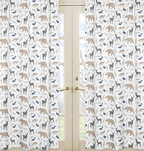 Sweet JoJo Designs 2-Piece Bear Deer Fox Window Treatment Panels for Blue Grey and White Woodland Animals Collection by Sweet Jojo Designs