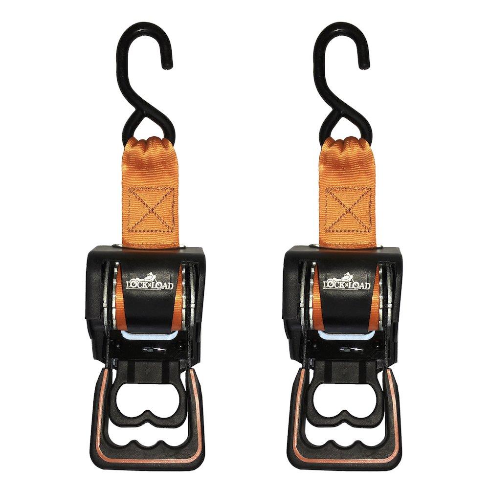 Lock 'N Load BK202 Black 6' Webbing Length Retractable Ratchet Tie Down, 2 Pack Lock ' N Load