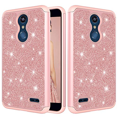 LG K30 Case,LG Premier Pro LTE Case, LG Phoenix Plus Case Case,ZERMU 2in1 Slim Fit Luxury Glitter Pretty Hard Shell Hybrid Rubber Bumper Bling Sparkly Shining Fashion Style Case for K10 2018
