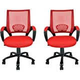 Mid Back Mesh xmOAx Ergonomic Computer Desk Office Chair, Red, 2 Pack