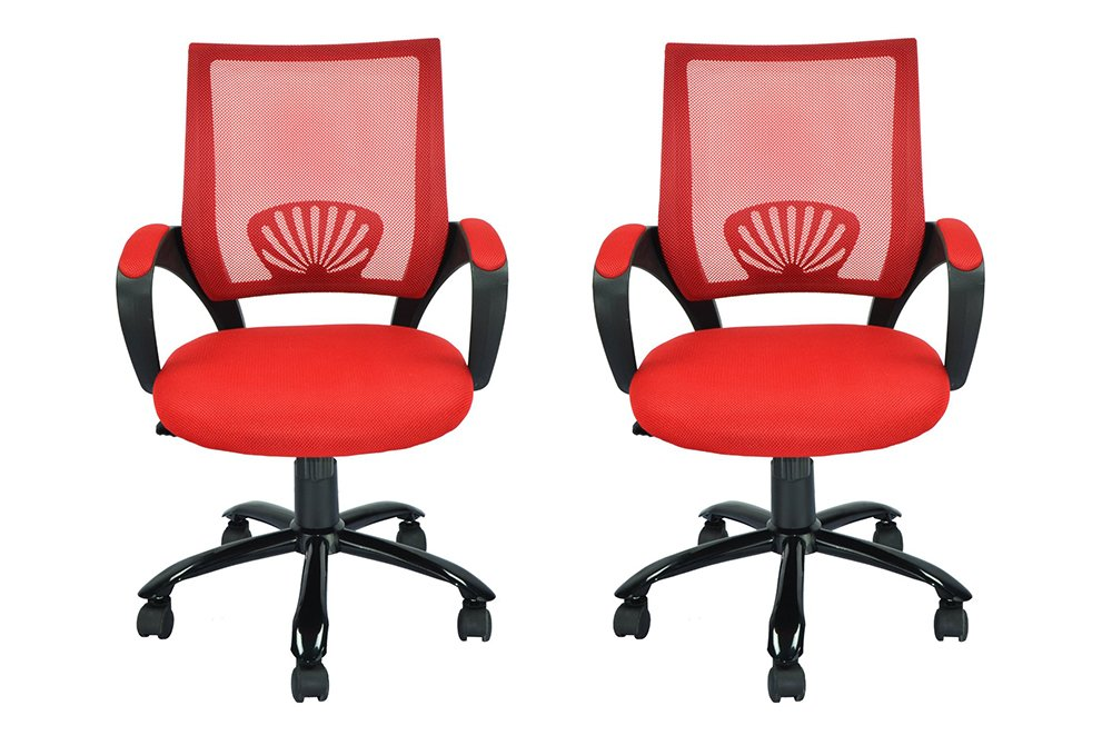 Mid Back Mesh ZLCih Ergonomic Computer Desk Office Chair, Red, 2 Pack