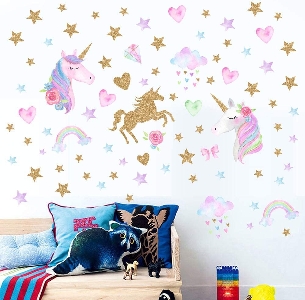 Castle and Rainbow AIYANG Licorne Mur Autocollants Les Couleurs de larc en Ciel la d/écoration Murale pour Les Filles b/éb/é Chambre Salle de d/écoration
