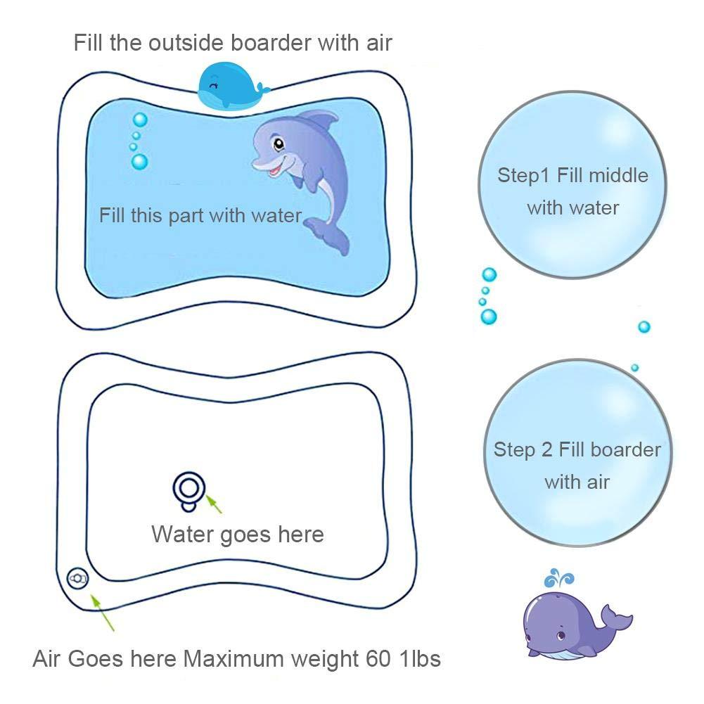 bozitian Estera de Agua Inflable para beb/és Patted Pad Inflable de beb/é Coj/ín de Agua Inflable Estera de Juego Llena de Agua divertirse Jugar Centro de Actividad El Crecimiento de su beb/é