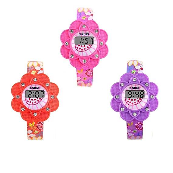 Niños LED Digital de girasol juego de niños vestido reloj de pulsera para niñas color rosa rojo púrpura 3 Pcs: Amazon.es: Relojes