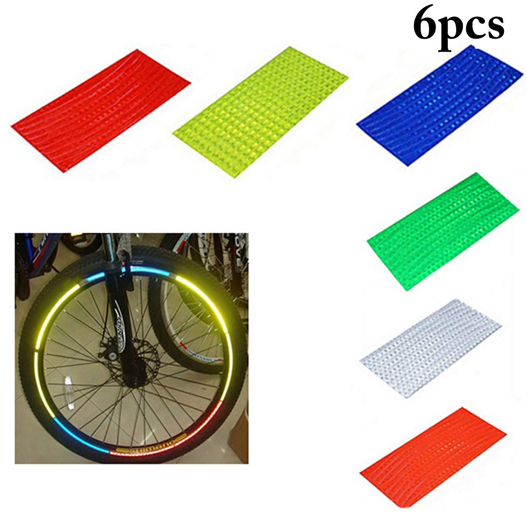 Fansport 6 Sheets Bike Reflective Tape Glow Night Warning Tape Bicycle Safety Sticker