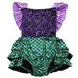 Hotone Baby Girl Sequins Mermaid Bodysuit Romper Jumpsuit Outfit Sunsuit Clothes (12-18 Months, Purple&Green)