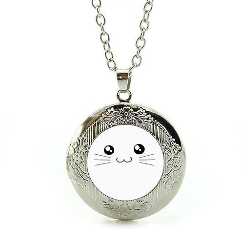 Amazon.com: LEO BON Colgante de plata Kawaii gato cara ...