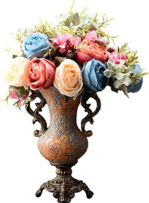 Amazon Com European Style Retro Resin Tall Vases With Artificial Flower Arrangements Bouquets For Living Dining Room Table Centerpiece Bedroom Office Hotel Home Decoration Large Decorative Face Flower Vase 60cm Home Kitchen
