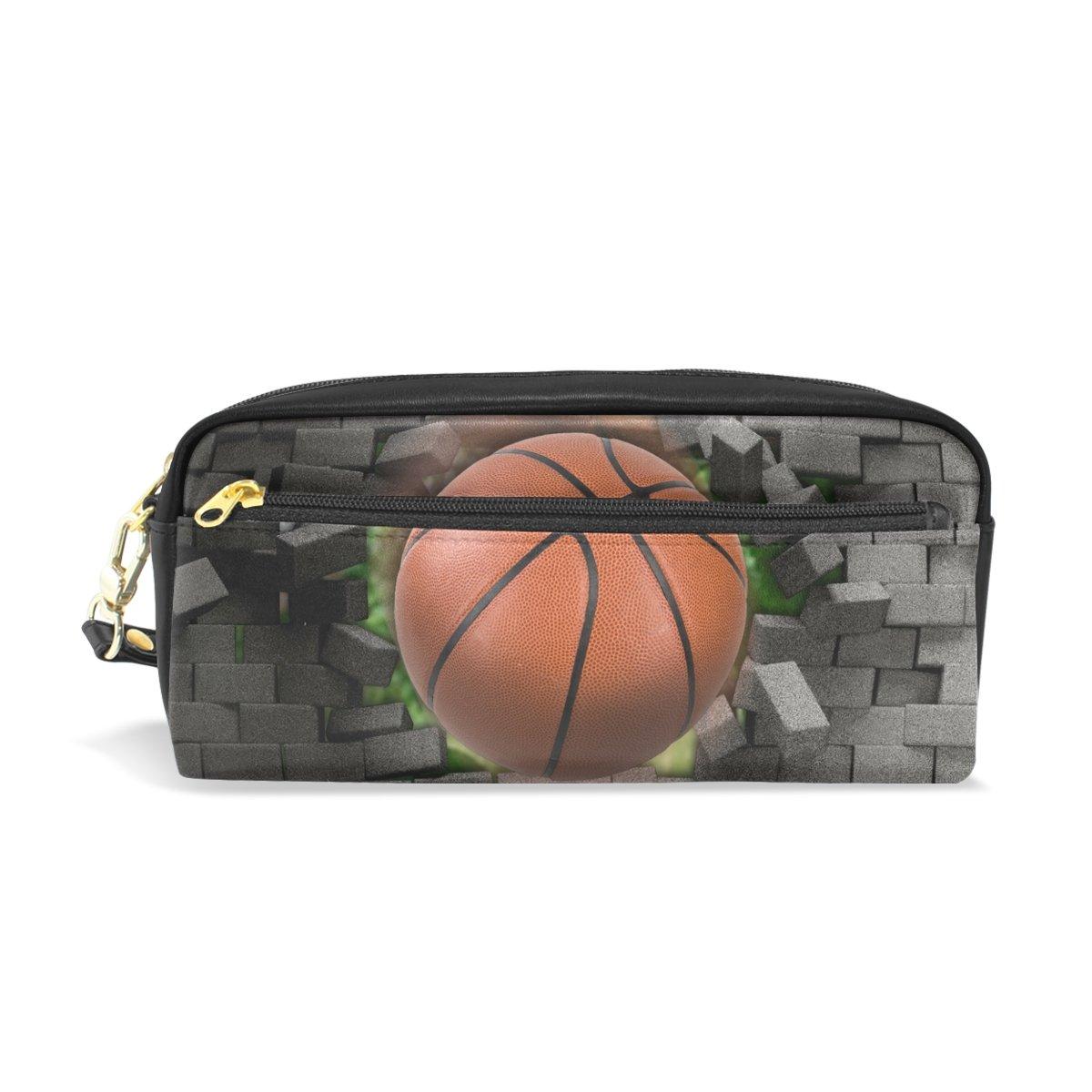 zzkko deporte baloncesto funda de piel cremallera lápiz pluma ...