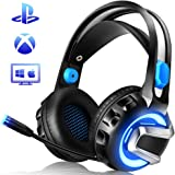 NiceWell Gaming Headset for Xbox One, PS4, PC, Gaming Headphones with Microphone, LED Light, 7.1 Stereo Sound, Noise-canceling, Over-Ear Soft Earmuffs and Adjustable Heanband [Newest Upgraded]