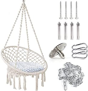 TOPNEW Hammock Swing Chair Macrame Hanging Chair, Bohemian Room Decor Cotton Rope Hammock Chair for Bedroom Living Room Patio Deck Yard, Hanging Hardware and Cushion Included