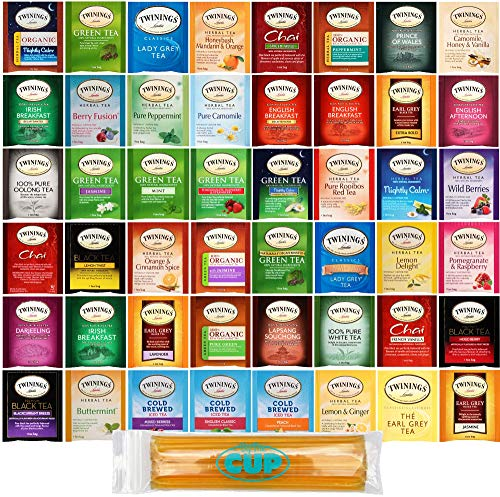 Twinings Hot Tea Bag Sampler Gift Pack, 48 Count Assortment Includes Organic, Green, Black, Herbal, Earl Grey, English Breakfast, Decaf, Camomile, Chai Tea and More with By The Cup Honey Sticks ()