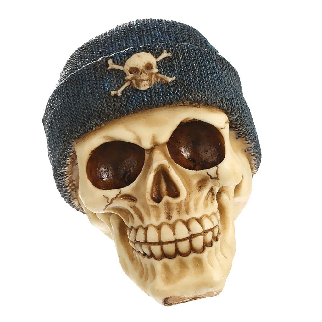 MagiDeal Resina Cranio Teschio Scheletro Teste con Cappelli Soprammobili Casa Bar Decorazione