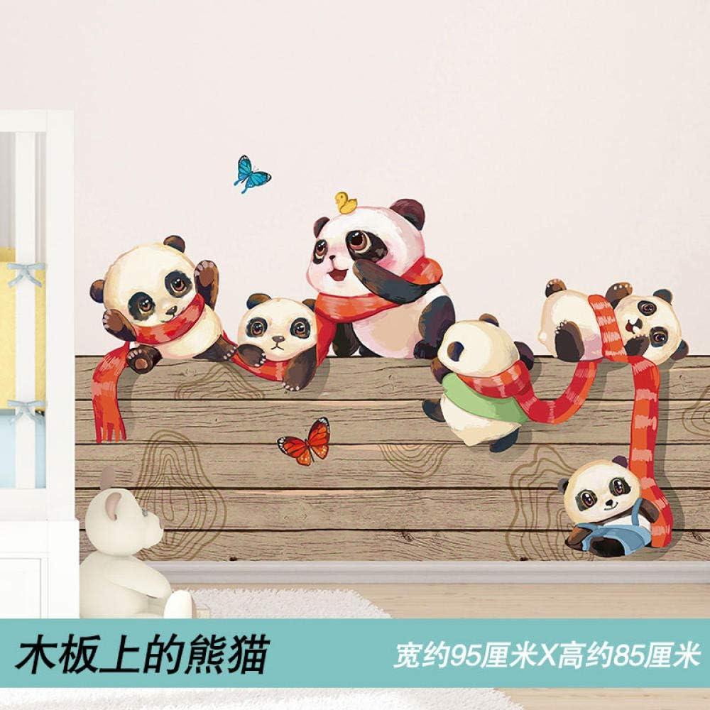 Dibujos animados lindo habitación papel de pared decoración de la pared zócalo pegatina de pared pegatinas autoadhesivas-Panda en una tabla de madera_Big: Amazon.es: Bricolaje y herramientas