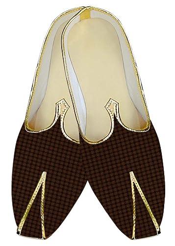Mens Brown Checks Wedding Shoes Ethnic MJ016092