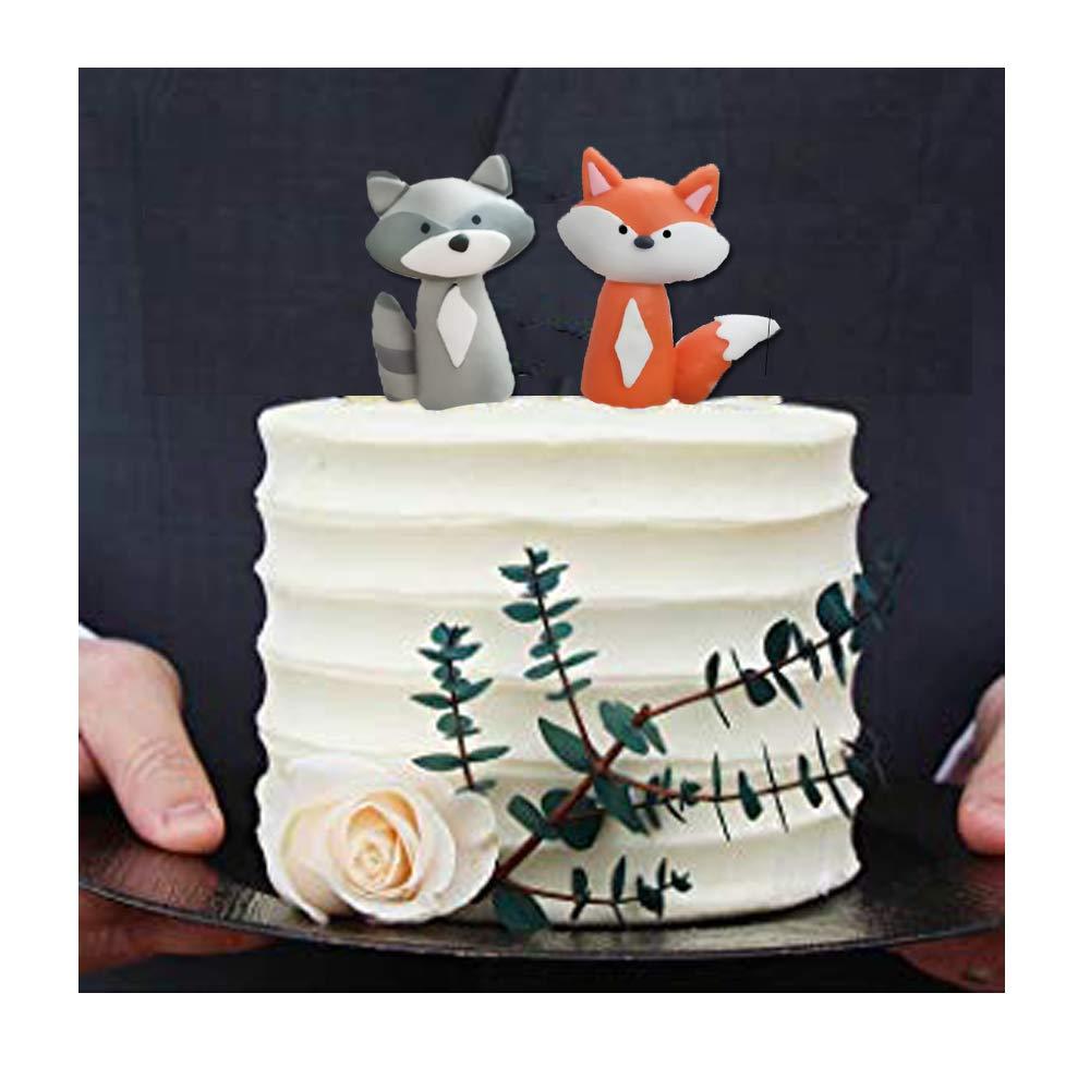Woodland Fox Raccoon Cake Decoration Cake topper for Baby Shower Birthday by GmakCeder