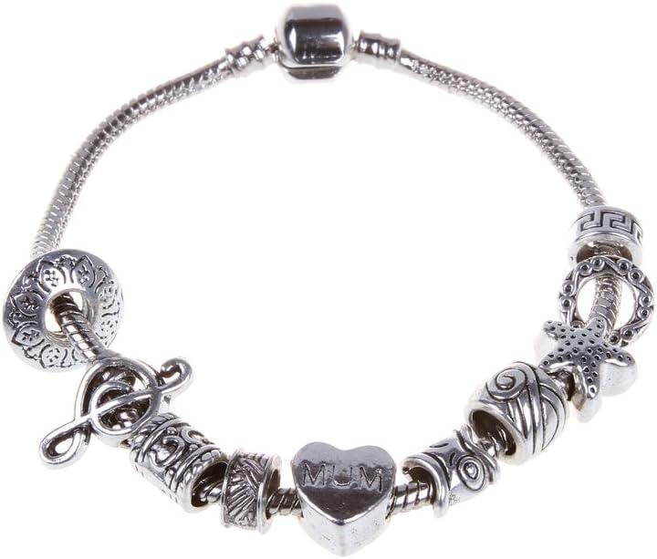 50 Pcs Model-BRA-22 metall rubyca Tibetisches Silber Farbe Lose Charm-Perlen und 1/europ/äische Charm-Armband 21,1/cm