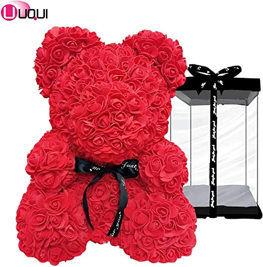 Fully Assembled GIFT BOX 10 inch  Teddy Bear rose RED WINE Rose teddy bear