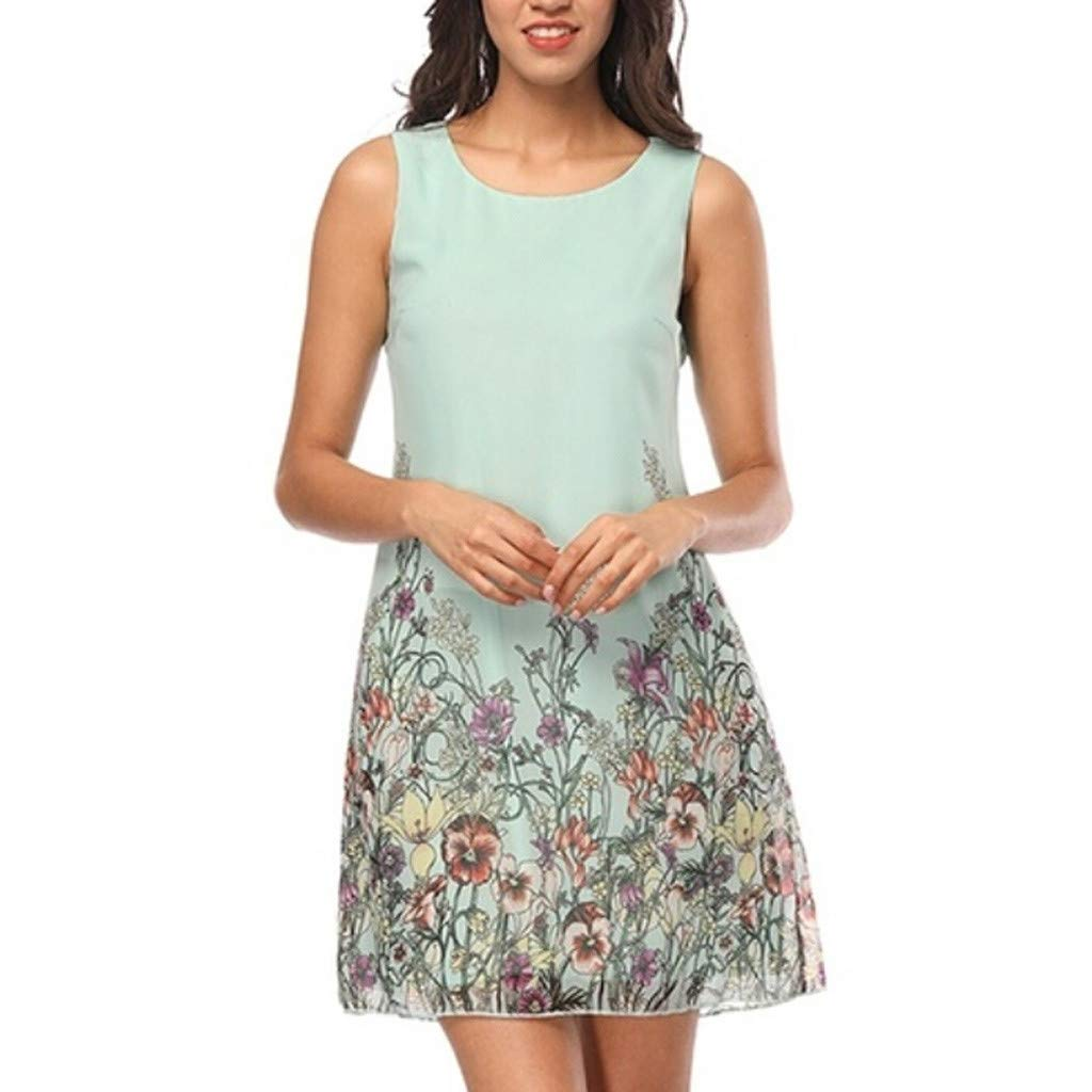 wodceeke Women Summer Casual Off Shoulder Sleeveless Flower Print Crew Neck Mini Dress(Green,L)