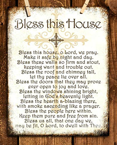 """""""Bless This House, O Lord, We Pray- Distressed Parchment Print- 8 x 10"""" Wall Art- Ready to Frame. Traditional Script Design-Home Décor- Kitchen Décor- Christian Gifts. Inspirational Prayer For All."""