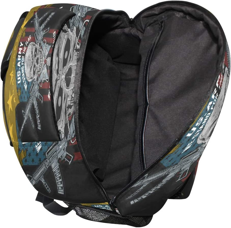 Skull Usa American Flag Backpack School Bookbag Travel Shoulder Laptop Bag for Womens Mens
