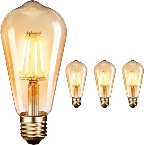 Non Dimmerabile 3x Lampadina Edison E27 Led Lampada A Incandescenza Edison Vintage 4w Lampade Antiche Decorative St64 Lampadina A Filamento Bianco Caldo 2200k In Casa Cafe Bar Ristorante Lampadine Com Lampadine Speciali
