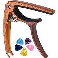 HOME-MART Guitar Capo Clip for Acoustic and Electric Guitar Ukulele Banjo Mandolin Black With 5 Picks