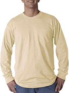 product image for Bayside Apparel mens Long-Sleeve Tee with Pocket(BA8100)-SAND-M