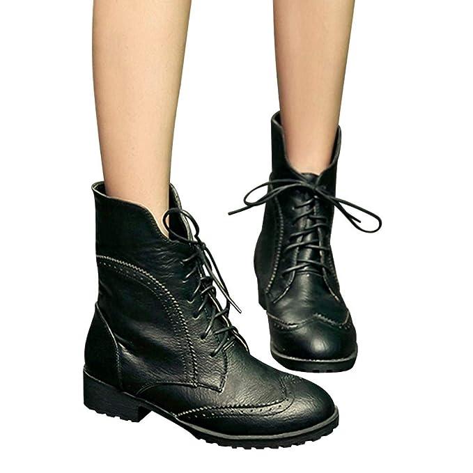 Longra ☂☂ Zapatos de Cuero con Punta Redonda para Mujer Botines Planos Atados Botas: Amazon.es: Ropa y accesorios