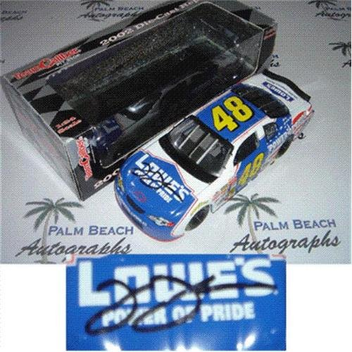 (Jimmie Johnson Autographed Lowes Power of Pride #48 (2002 Team Caliber Pit Stop) 1/24 Diecast Car)