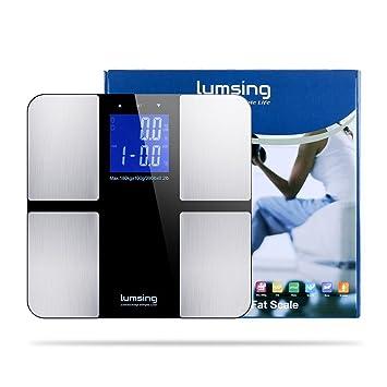 Digital Peso escala, Lumsing grasa corporal báscula de baño Medidas Peso, Grasa Corporal, agua corporal, BMI, muscular y masa ósea, kg) capacidad: ...