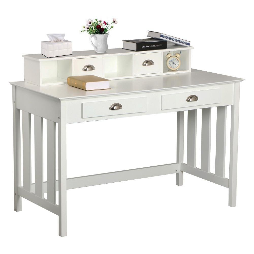 Go2buy White Wooden Writing Desk Student Table With 4