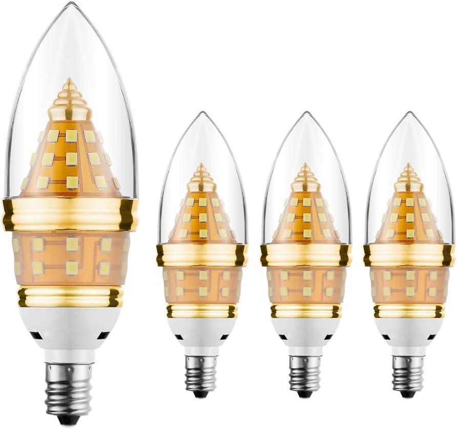 E12 Led Light Bulb,EKSAVE 12W E12 Led Ceiling fan light bulbs,Candelabra Bulb,1200 Lumens LED Candle Bulbs, Warm White,Non-dimmable (3000K,4pcs)