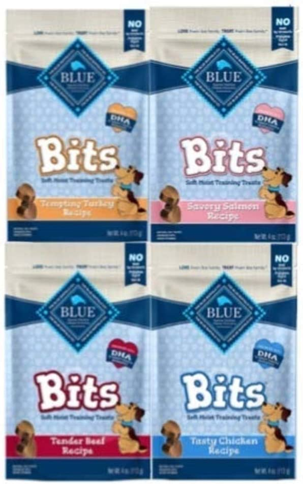 Blue Pack of 4 Buffalo Treats Bits Dog Treats Pouches, 4 Flavors Savory Salmon, Tasty Chicken, Tender Beef and Tempting Turkey , 4 oz., Blue