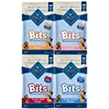 Blue Pack Of 4 Buffalo Treats Bits Dog Treats Pouches, 4 Flavors (Savory Salmon, Tasty Chicken, Tender Beef And Tempting Turk