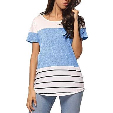 43f7a240d114 Damen T-Shirt LeeY Frauen Kurzarm-Shirt Oberteile Bluse Top Sexy Streifen  Bluse Neu