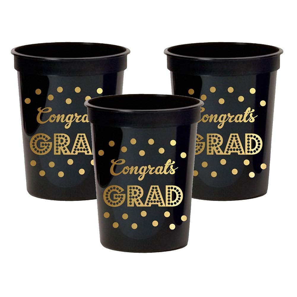 Gold and Black Graduation 16 Oz Party Cups (100) by E&B