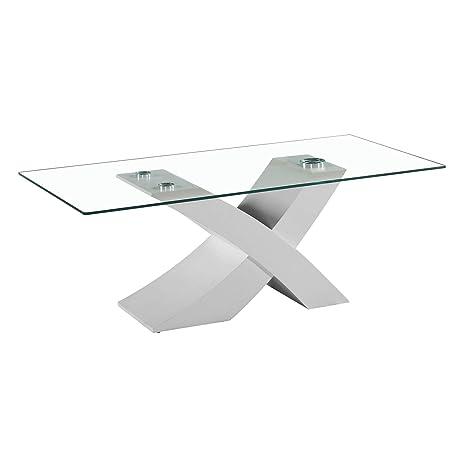 Tavolo da Pranzo Cucina Soggiorno in vetro temperato e legno mdf ...