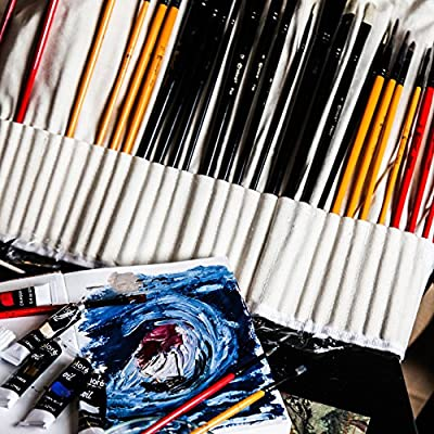 Colore Art Paint Brushes With Nylon Wrapping Case - Complete PACK of 36 Professional Grade Paint Brush Set - 12 Acrylic, 12 Oil & 12 Watercolor Paintbrushes - Lightweight and Durable Painting Supplies