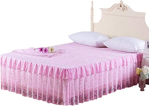 "16/"" Solid Elastic Bed Skirt Dust Ruffle Wrap Around Twin Queen King Pink Princes"