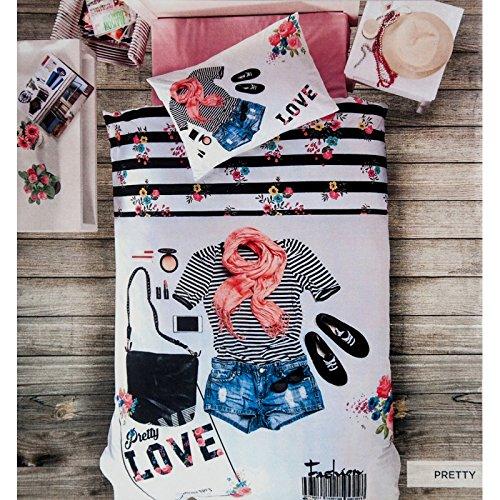 3d Pretty 3 Piece Bed Sheets Set 100% Cotton Bedding Linens Cover Sheets Comforter Bed Set Teen Girs Red Blue White Girl Print Bedding Set - Luxurious, Comfortable, Breathable
