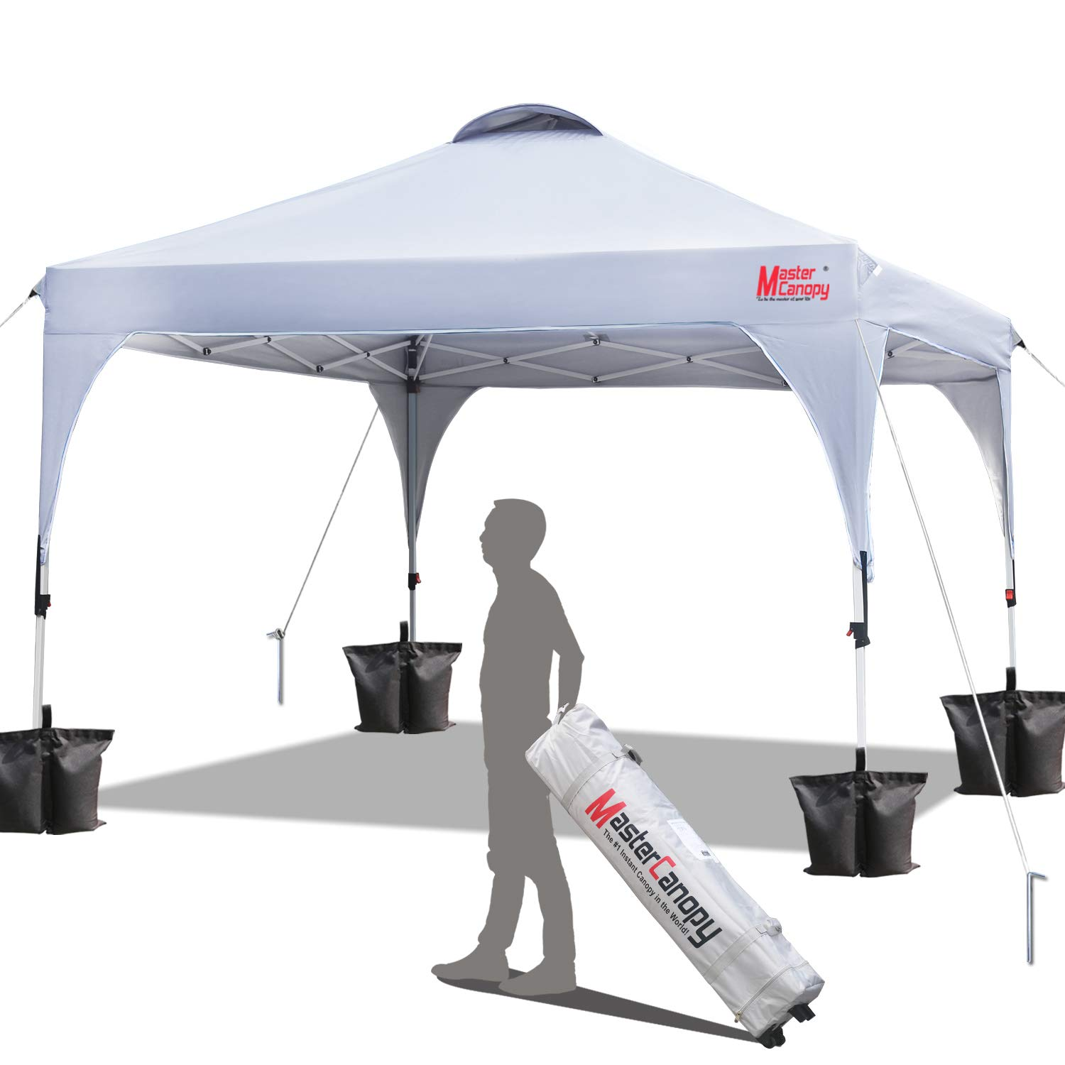 MasterCanopy Patio Pop Up Commercial Canopy 10×10 Beach Canopy Better Air Circulation Canopy with Wheeled Backpack Carry Bag White