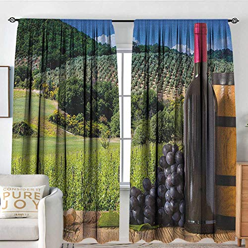 Petpany Bedroom Blackout Curtain Panels Wine,Idyllic Tuscany Country Landscape Agriculture Harvest Grape Plantation, Black Green Pale Brown,All Season Thermal Insulated Solid Room Drapes 54