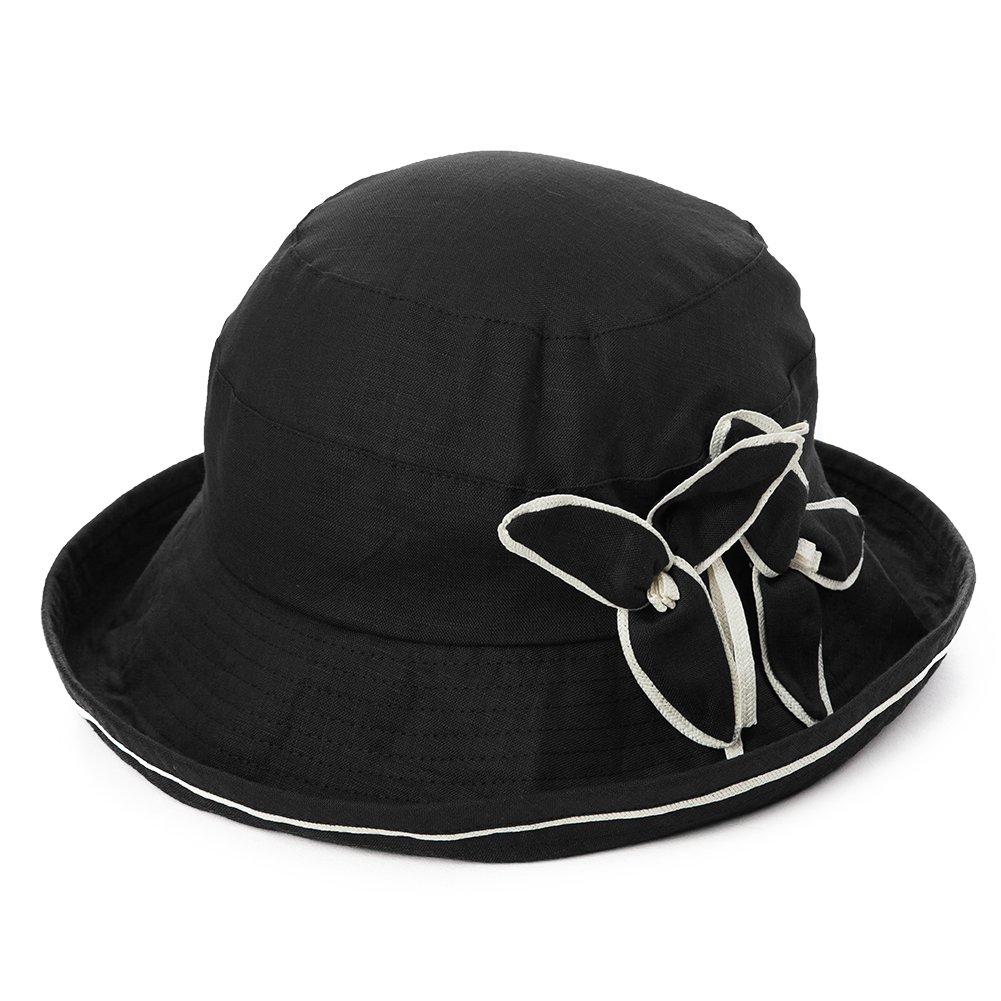 SIGGI Womens UPF50+ Linen/Cotton Summer Sunhat Bucket Packable Hats w/Chin Cord SI89313-1