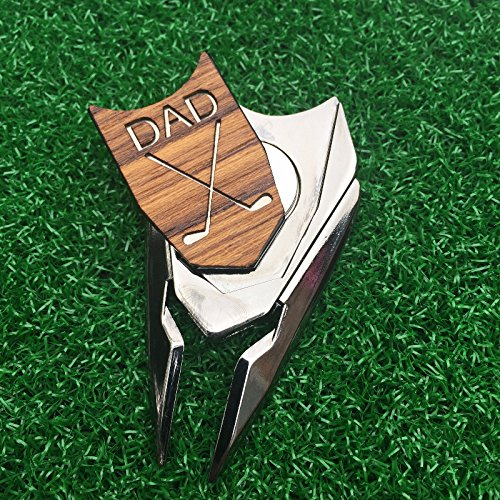 The Quintessential Hostess DAD Engraved Golf Gift Divot Tool and Ball Marker in Teak Wood - Dad Personalized Gift, Dad, Gift for Dad, Dad Birthday Gift by The Quintessential Hostess