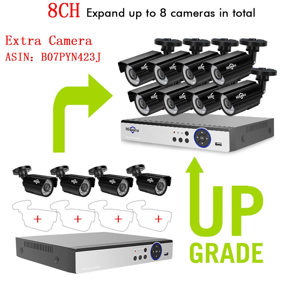Expandable 8CH Security Camera System AHD Video DVR Recorder with 4X HD 1080P Night Vision Home Waterproof Indoor Outdoor CCTV Cameras,Motion Alert 1TB HDD Pre-Installed