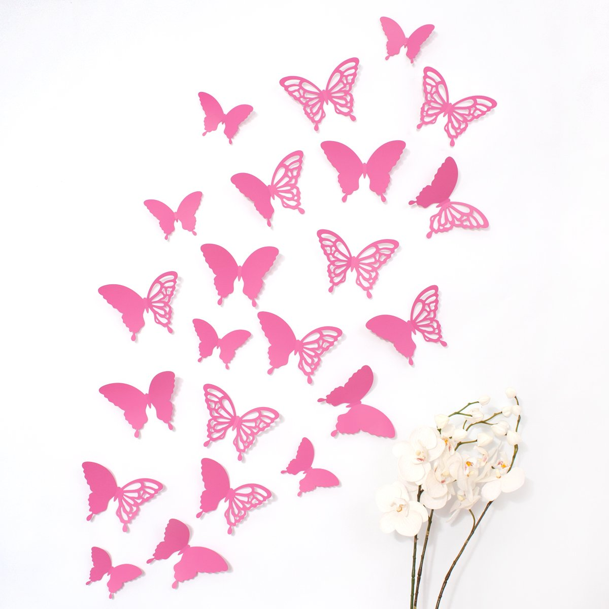 Mariposas 3D Wandkings de color FUCHSIA con detalles, conjunto de ...
