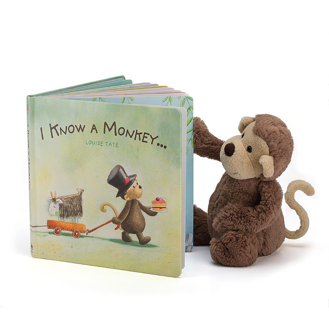 Jellycat I Know a Monkey Board Book and Bashful Monkey, Medium - 12 inches