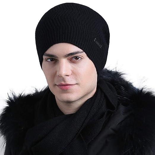 b82fe25fc60 CACUSS Mens 100% Wool Beanie Hat Winter Warm Knit Hat Ski Cuff Beanie Thick  Fleece